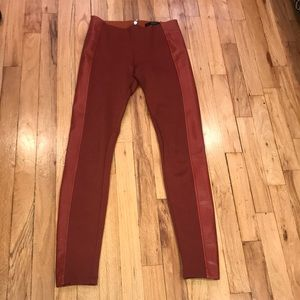 Guess burnt orange mixed faux leather leggings XS